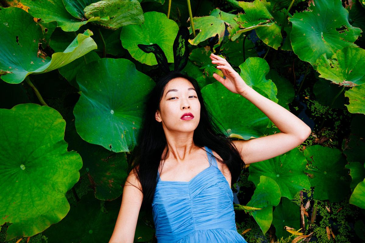 lotus pond, lily pad, photoshoot