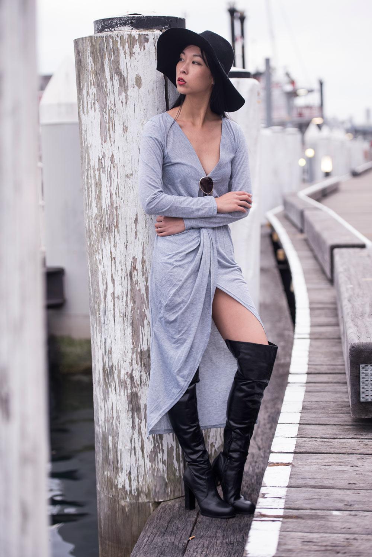 grey wrap dress, stylemoi