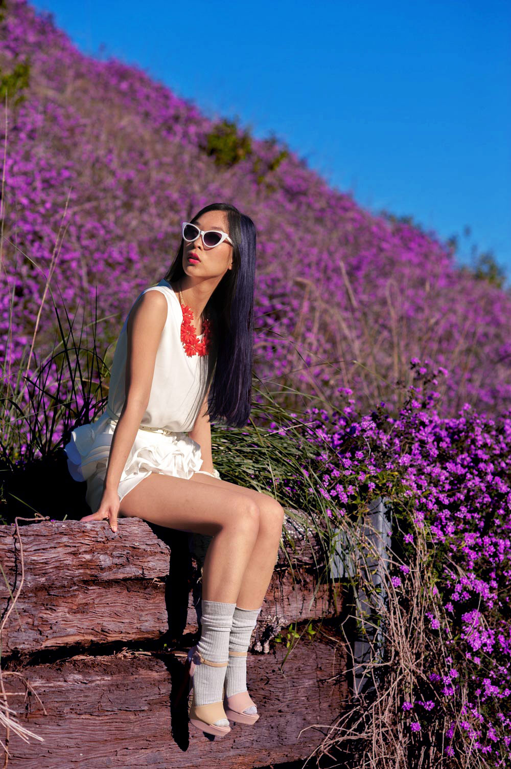 field of purple flowers, flower fashion shoot
