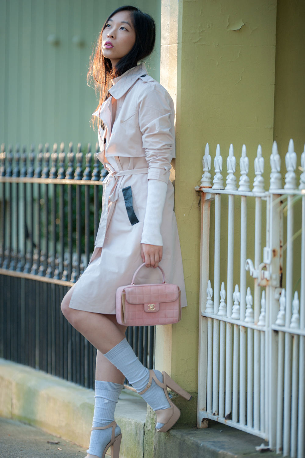 pink trench coat, knee high socks