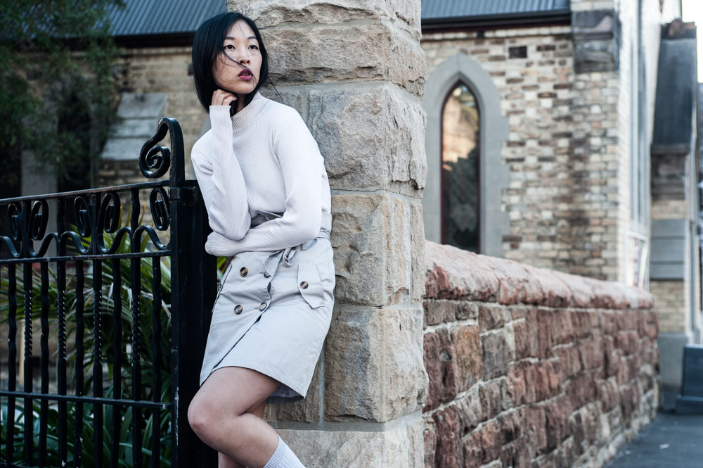 trench skirt, high socks, old fashioned style