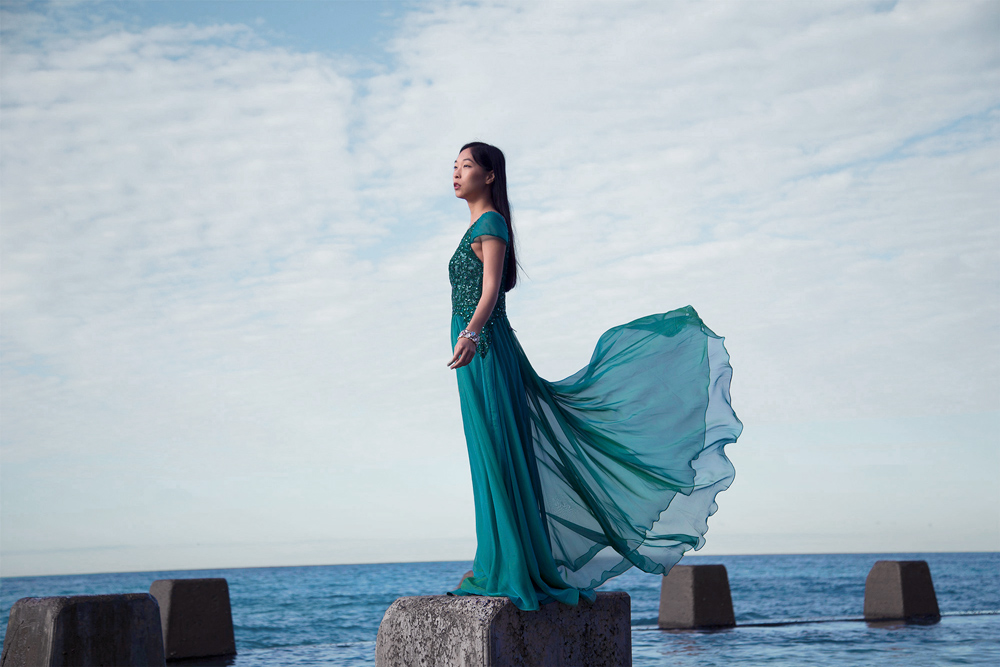 coogee beach pool, flowy blue green maxi dress