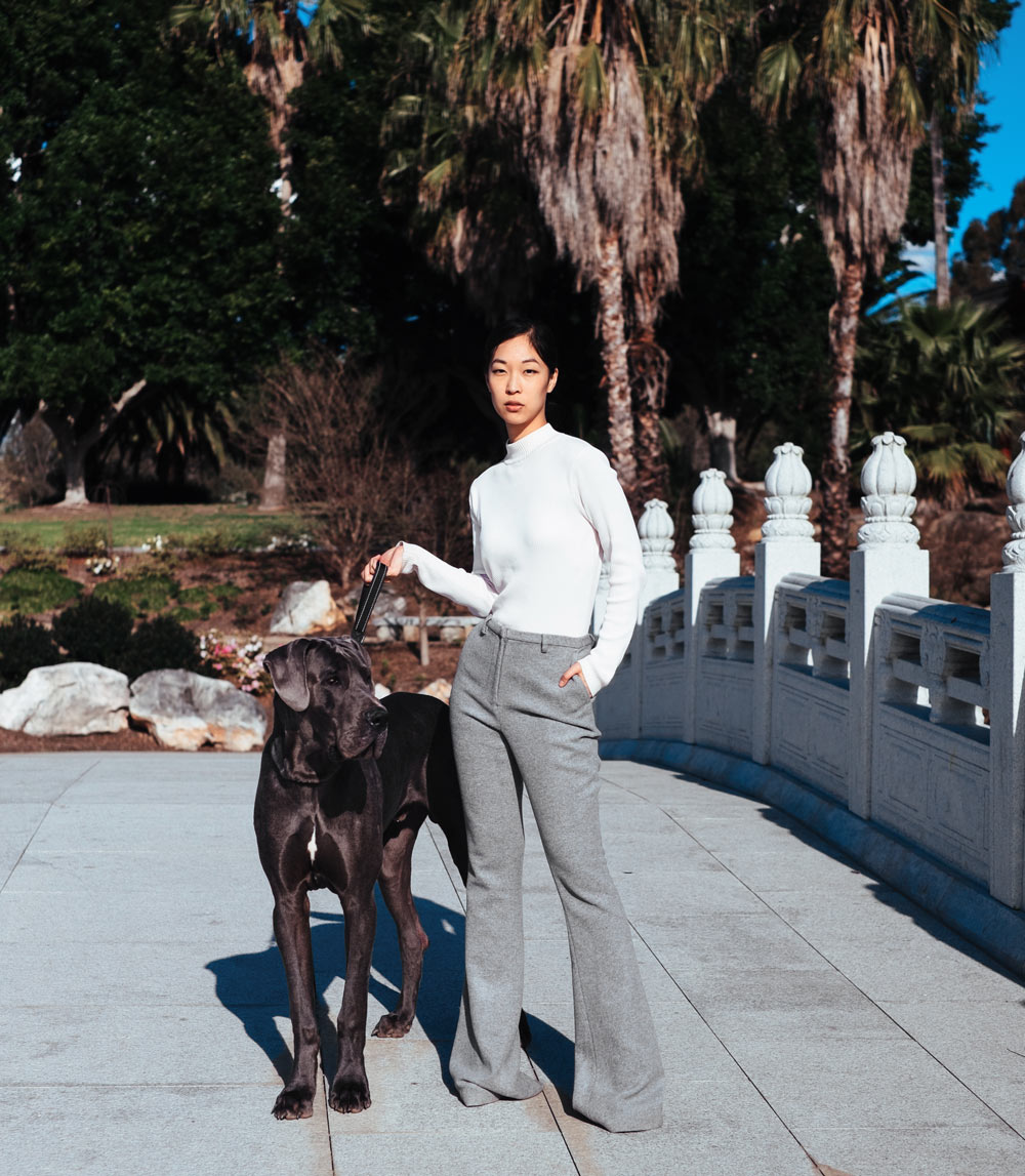 great dane photoshoot, fashion blogger, cissy zhang, grey pants