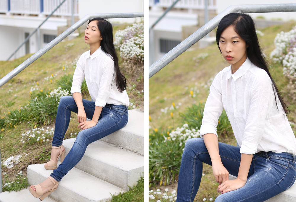 uniqlo blogger giveaway, girl in the bunny ears, linen