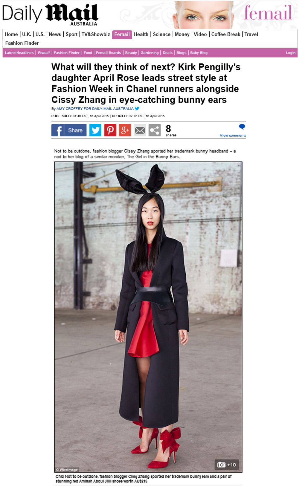 cisys zhang, dailymail, girl in the bunny ears, press
