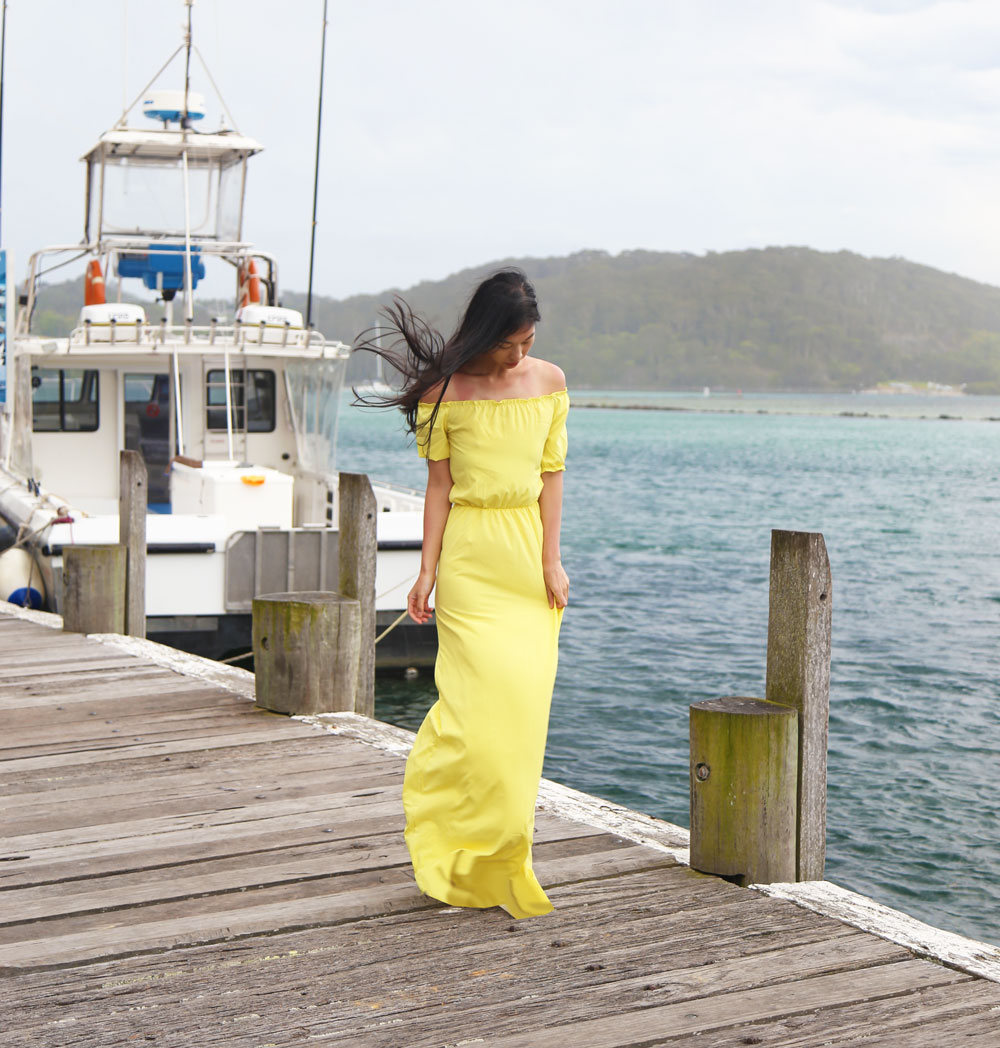 yellow maxi dress, fashion blogger