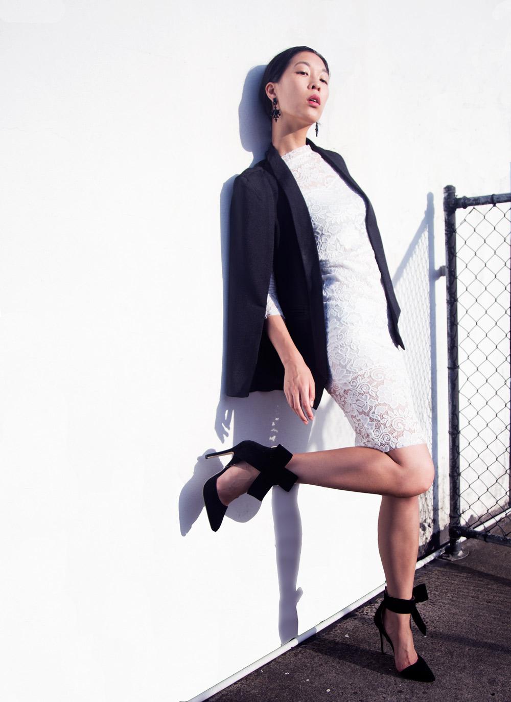 sammy dress, cape blazer, bow heels
