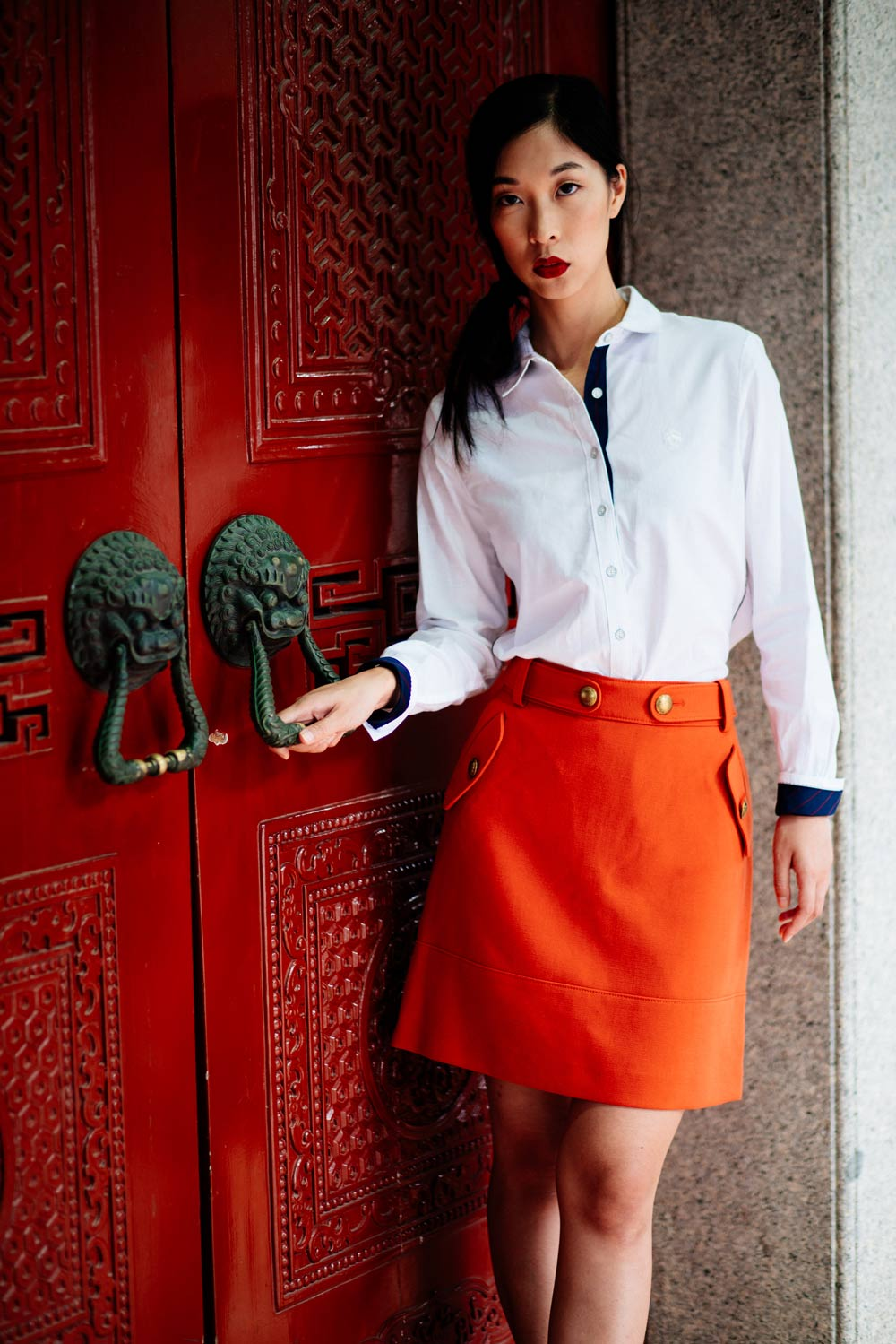brooks brothers, orange skirt, white shirt