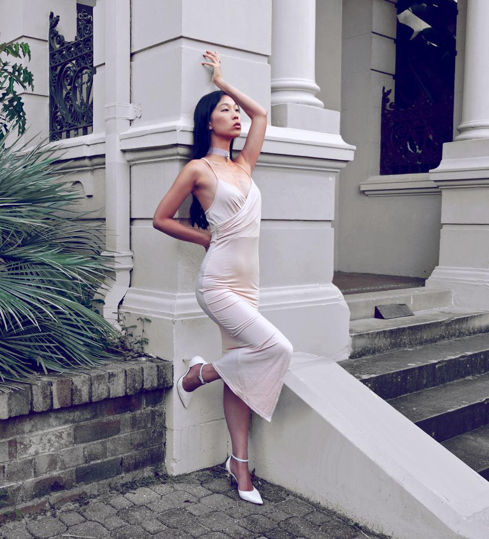 beige cream dress, choker necklace