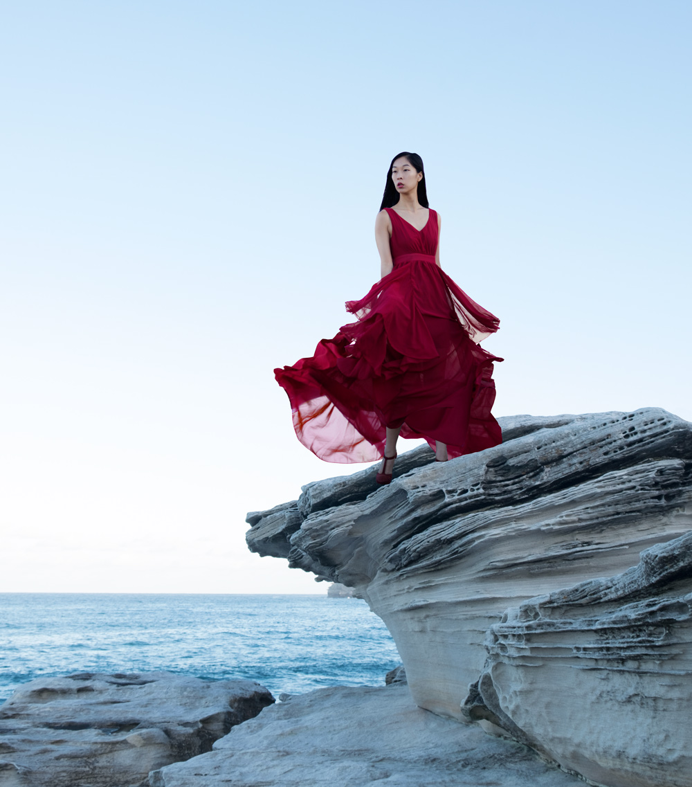 cissy zhang, model, red dress