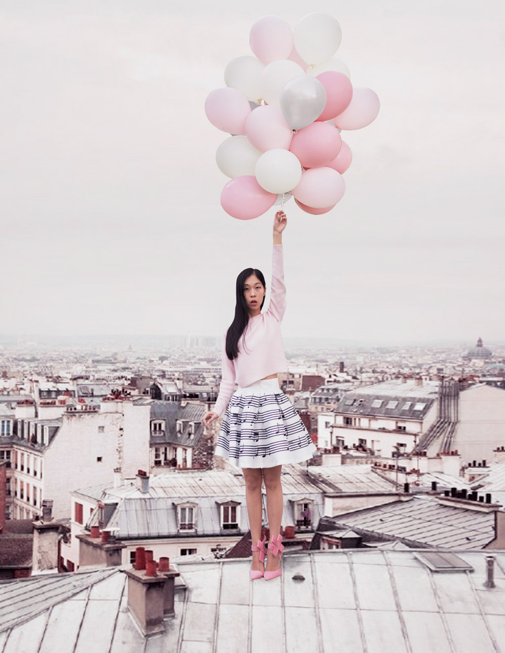 balloon flying photoshoot dior