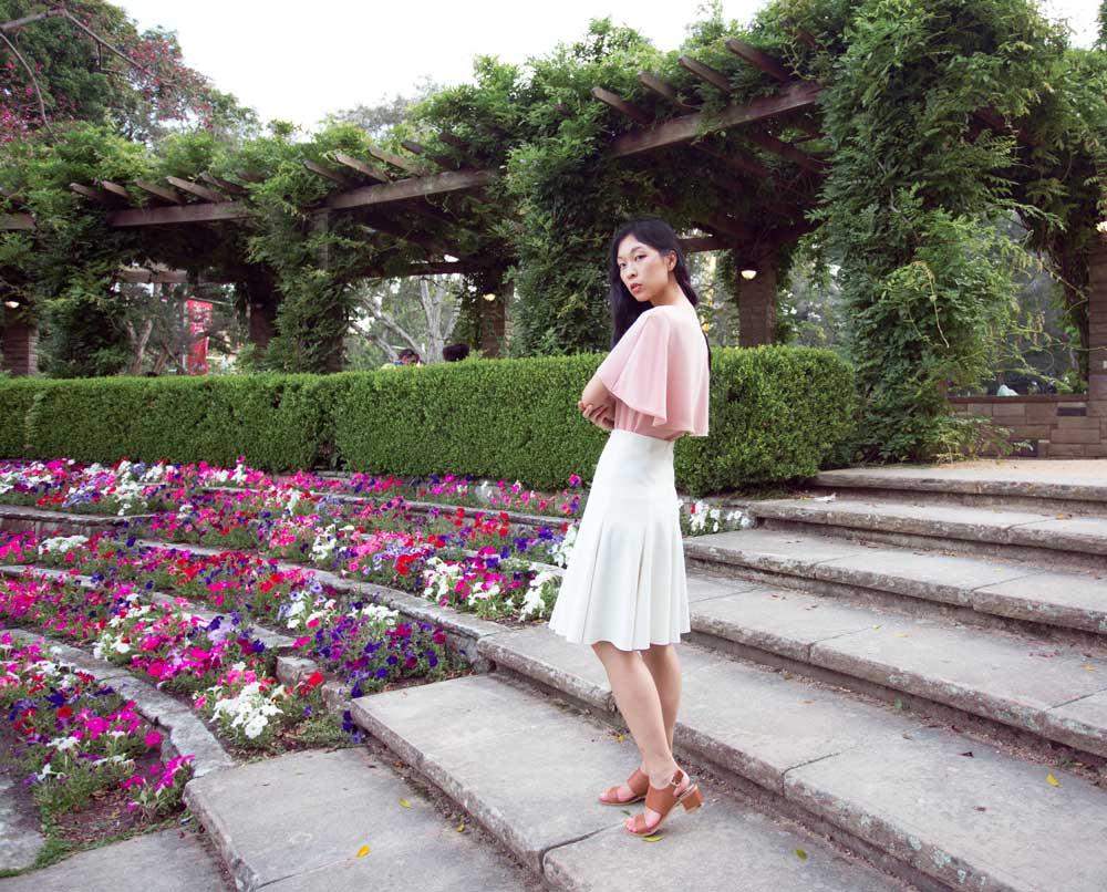 pink cape, fashion blogger