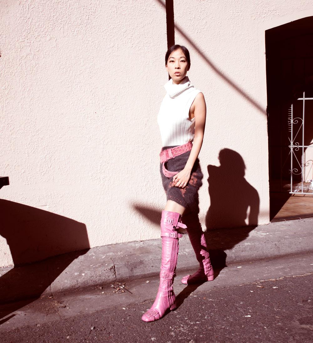 pink prada knee high boots